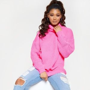 NEW TALL HOT PINK ROLL NECK OVERSIZED  SWEATER